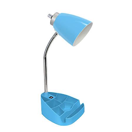 "LimeLights Gooseneck Organizer Desk Lamp With Tablet Stand And USB Port, 18-1/2""H, Blue Shade/Blue Base"