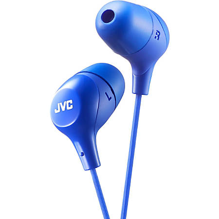 JVC Marshmallow HA-FX38A Earphone - Stereo - Blue - Wired - Gold Plated Connector - Earbud - Binaural - In-ear - 3.30 ft Cable