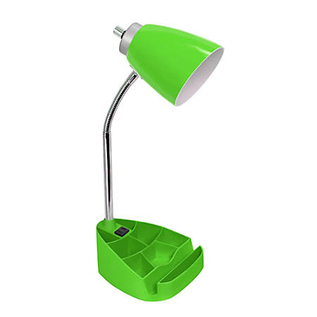"""LimeLights Gooseneck Organizer Desk Lamp With Tablet Stand And Charging Outlet, 18-1/2""""H, Green Shade/Green Base"""