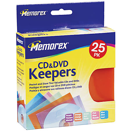 Memorex® CD & DVD Keepers, Assorted Colors, Pack Of 25
