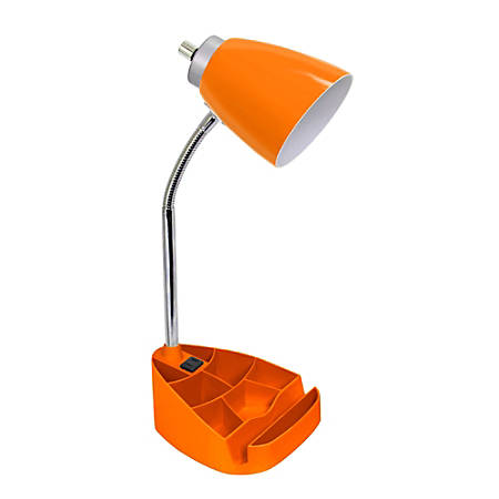 """LimeLights Gooseneck Organizer Desk Lamp With Tablet Stand And Charging Outlet, 18-1/2""""H, Orange Shade/Orange Base"""
