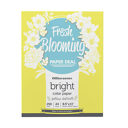 Office Depot® Brand Color Bright Copy Paper, Letter Paper Size, 24 Lb, Yellow Daffodil, 250 Sheets Per Ream