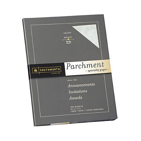 """Southworth® Parchment Specialty Paper, 8 1/2"""" x 11"""", 24 Lb, Celery, Pack Of 100"""