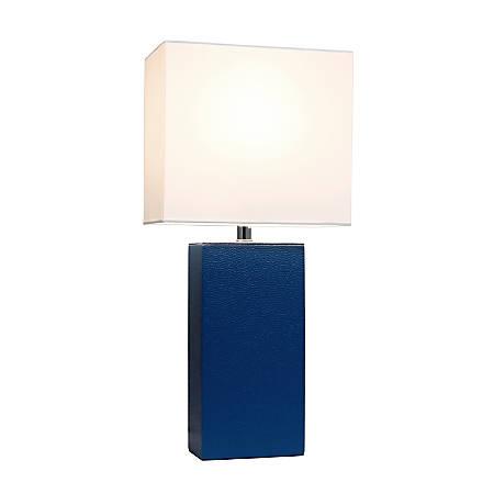 "Elegant Designs Modern Leather Table Lamp, 21""H, White Shade/Blue Base"