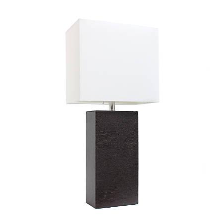 "Elegant Designs Modern Leather Table Lamp, 21""H, White Shade/Espresso Brown Base"
