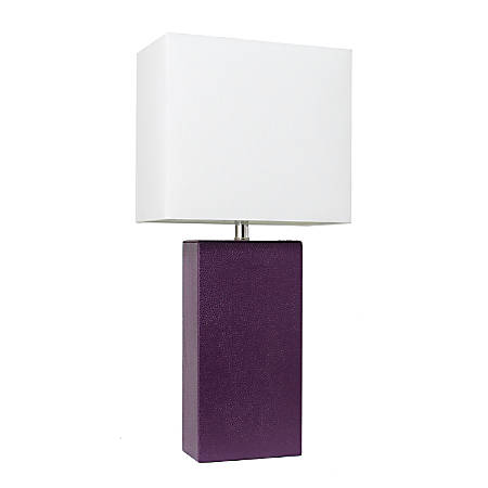 "Elegant Designs Modern Leather Table Lamp, 21""H, White Shade/Eggplant Base"