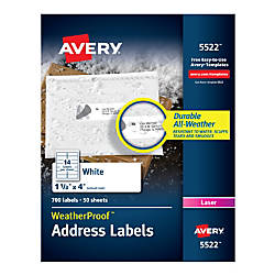 Avery WeatherProof Mailing Labels with TrueBlock