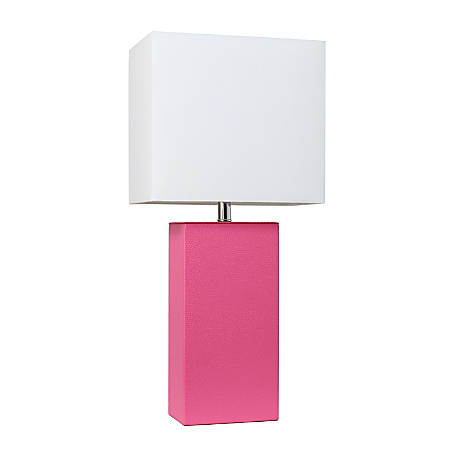 "Elegant Designs Modern Leather Table Lamp, 21""H, White Shade/Hot Pink Base"