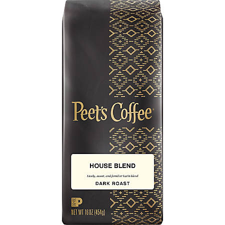 Peet's Coffee & Tea House Blend Ground Coffee - Regular - House Blend - Medium - 16 oz Per Bag - 1 Each