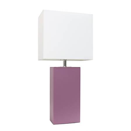 "Elegant Designs Modern Leather Table Lamp, 21""H, White Shade/Purple Base"