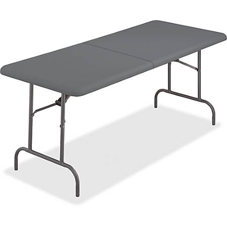 """Iceberg IndestrucTable TOO Bifold Table - Rectangle Top - 60"""" Table Top Length x 30"""" Table Top Width x 2"""" Table Top Thickness - 29"""" Height - Charcoal, Powder Coated - Tubular Steel"""
