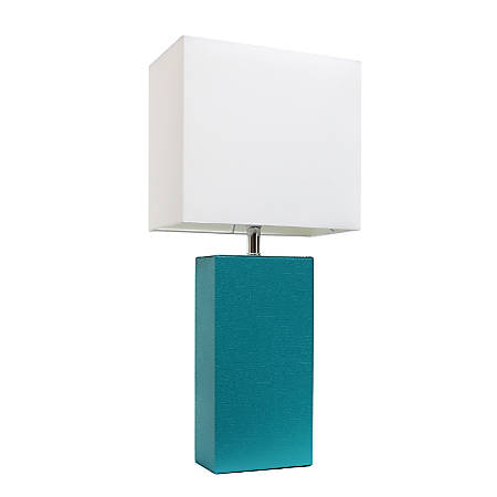 "Elegant Designs Modern Leather Table Lamp, 21""H, White Shade/Teal Base"