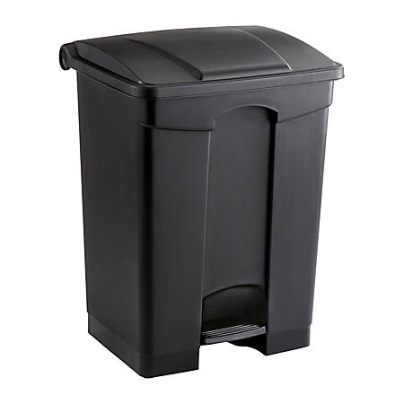 Safco® Plastic Step-On Receptacle, 17 Gallon, Black