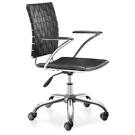 Zuo® Modern Criss Cross Executive Chair, Black/Silver