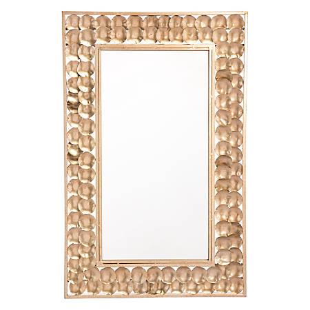 "Zuo Modern Mini Circles Rectangular Mirror, 34 1/8""H x 21 15/16""W x 1""D, Gold"