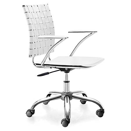 "ZUO Modern Criss Cross Executive Chair, 23""H x 22""W x 35""D, White/Silver"