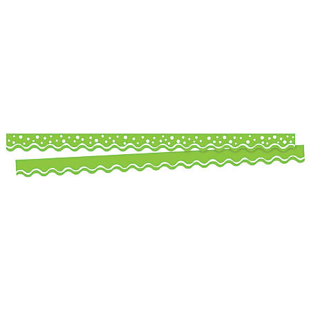"""Barker Creek Scalloped-Edge Border Strips, 2 1/4"""" x 36"""", Happy Lime, Pre-K To College, Pack Of 26"""