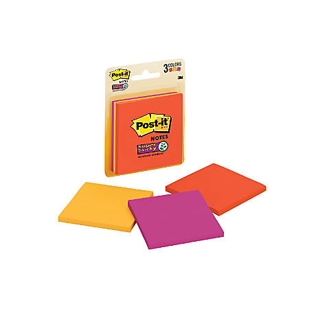 "Post-it® Super Sticky Notes, 3"" x 3"", Marrakesh, Pack Of 3 Pads"
