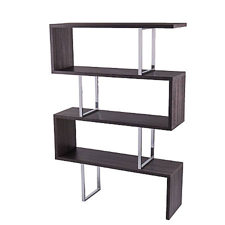 "Southern Enterprises Morrow 68""H 3-Shelf Etagere, Dark Grayed Oak/Chrome"