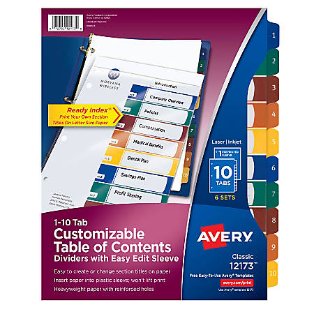 Avery® Ready Index® 30% Recycled Easy-Edit Table Of Contents Dividers, 10 Tabs Per Pack, Multicolor, 6 Packs