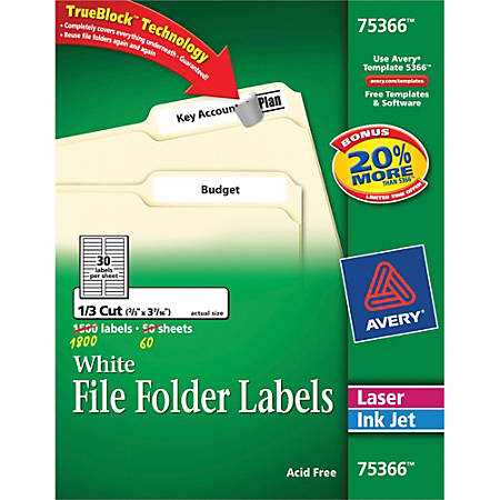 "Avery® TrueBlock® Permanent Inkjet/Laser File Folder Labels, 75366, 2/3"" x 3 7/16"", White, Box Of 1,800"