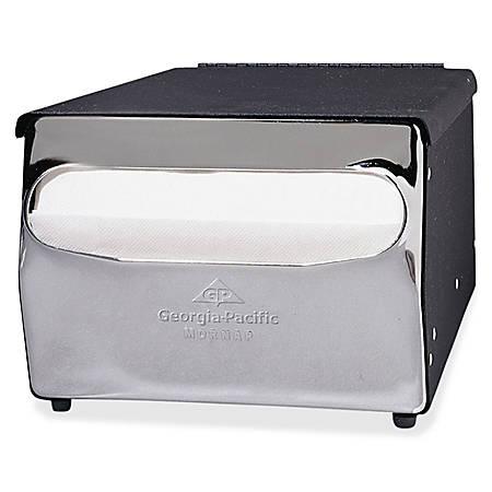 "Georgia-Pacific MorNap Napkin Dispenser - Full Fold Dispenser - 255 x Napkin - 5.9"" Height x 7.9"" Width x 11.5"" Depth - Steel - Black, Chrome - Durable"