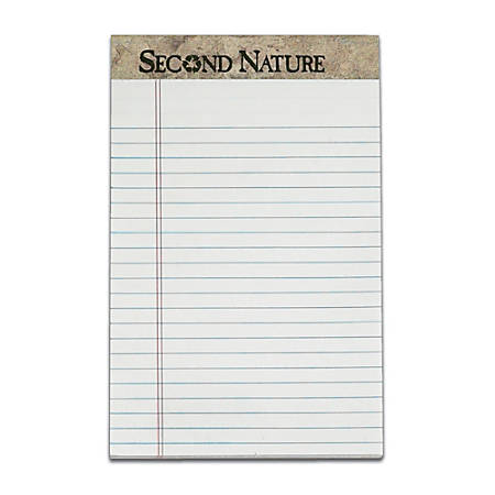 """TOPS™ Second Nature® 100% Recycled Writing Pads, 5"""" x 8"""", Legal Ruled, 50 Sheets, White, Pack Of 12 Pads"""