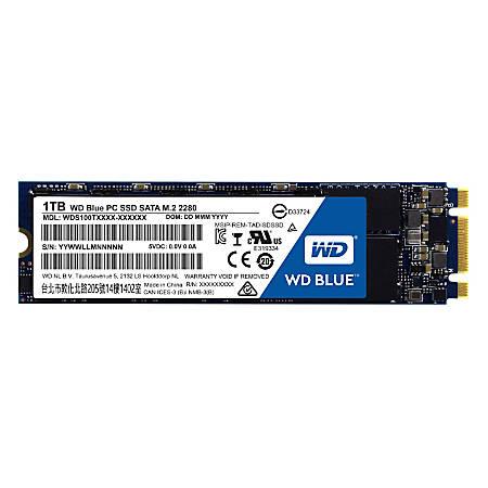 Western Digital® Blue™ M.2 2280 Internal Solid State Drive For Laptops/Desktops, 1TB, SATA III, WDS100T1B0B