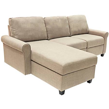 Serta Copenhagen Reclining Sectional With Storage Chaise, Left, Beige/Espresso