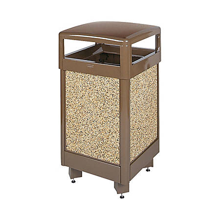 "United Receptacle 30% Recycled Hinged-Top Can, 29 Gallons, 40"" x 21"" x 21"", Brown"