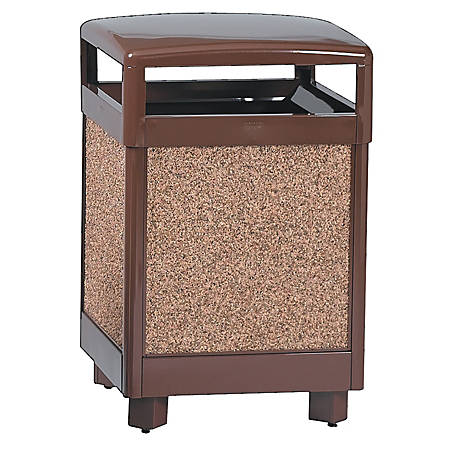 "United Receptacle 30% Recycled Hinged Top Litter Receptacle, 38 Gallons, 40"" x 26"" x 26"", Brown"