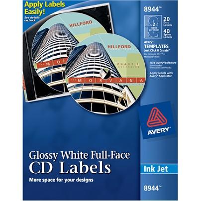Avery Full Face Permanent Inkjet Cddvd Labels Ave8944 4 12 Diameter