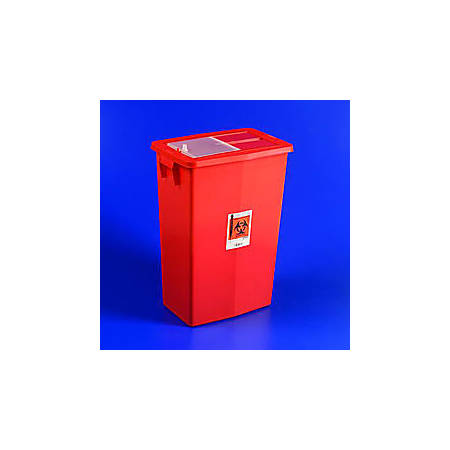 SharpSafety™ Large Volume Sharps Container, 18 Gallon Capacity, Red, Sliding Lid, Case Of 5