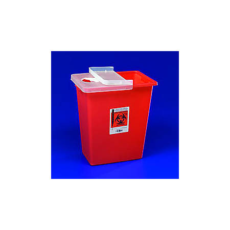 SharpSafety™ Large Volume Sharps Container, 8 Gallon Capacity, Red, Hinged Lid