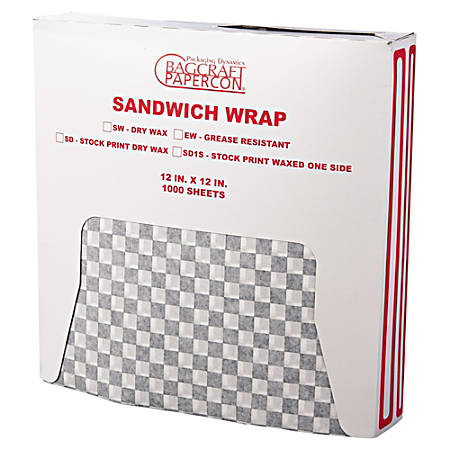 """Bagcraft® Grease-Resistant Wrap/Liners, 12"""" x 12"""", Black Checker, 1,000 Liners Per Box, Carton Of 5 Boxes"""