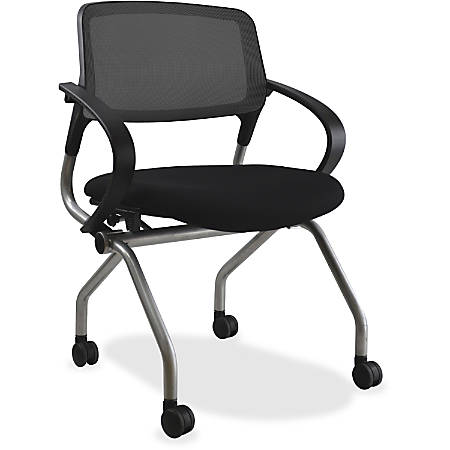 Lorell® Mesh/Fabric Nesting Chair, Black