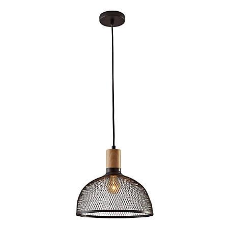 "Adesso® Dale Large Pendant Lamp, 11-1/2""H, Matte Black Shade/Natural Rubberwood Base"