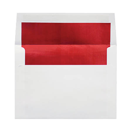 """LUX Invitation Envelopes With Peel & Press Closure, A8, 5 1/2"""" x 8 1/8"""", Red/White, Pack Of 1,000"""