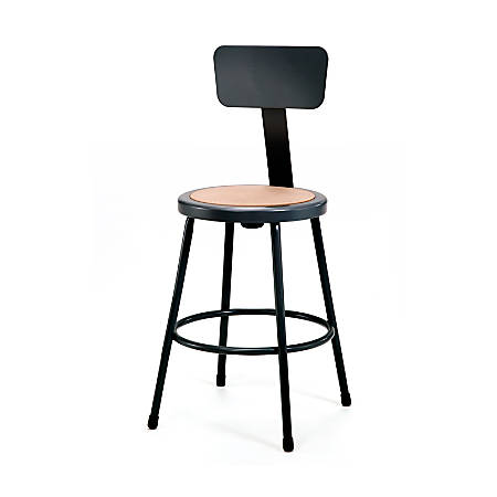 "National Public Seating Hardboard Stools With Backs, 24""H, Black, Set Of 4"