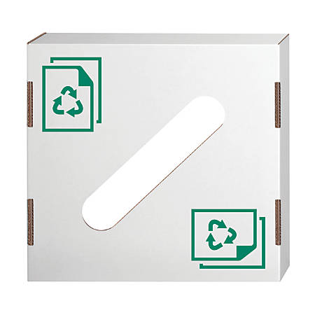 """Bankers Box® Waste And Recycling Bin Lids, Paper, 18 1/4"""" x 18 1/4"""" x 6"""", 60% Recycled, White/Green, Pack Of 10"""