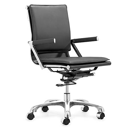 Zuo® Modern Lider Plus Leather Executive Chair, Black/Chrome