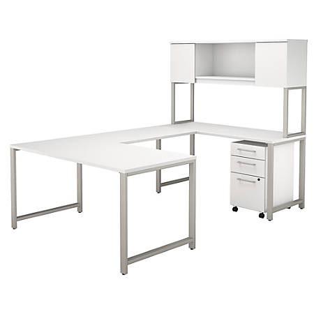 "Bush Business Furniture 400 Series U Shaped Table Desk with Hutch and 3 Drawer Mobile File Cabinet, 60""W, White, Premium Installation"