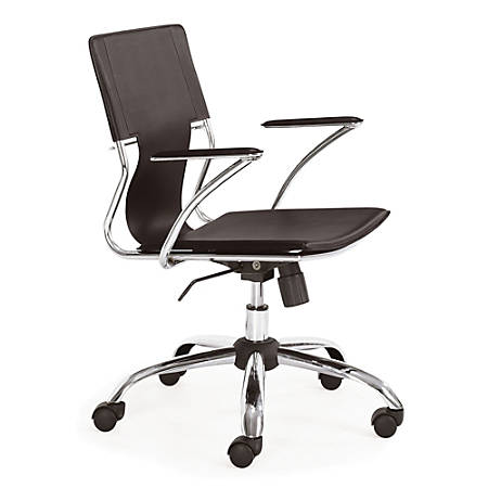 "ZUO® Modern Trafico Leather Executive Chair, 25""H x 24""W x 37""D, Espresso/Chrome"