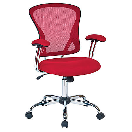Office Star™ Avenue Six® Juliana Mesh Task Chair, Red/Silver