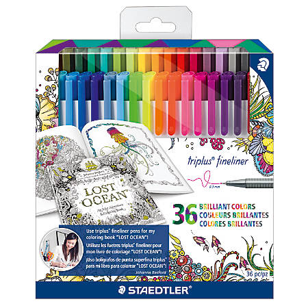 Staedtler® Johanna Basford Tri-Plus Fineliner Markers, 0.3 mm, Assorted Colors, Pack Of 36