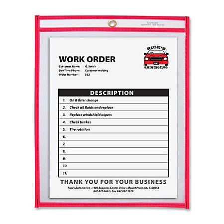 """C-Line® Neon Color Stitched Shop Ticket Holder, 9"""" x 12"""", Neon Red"""