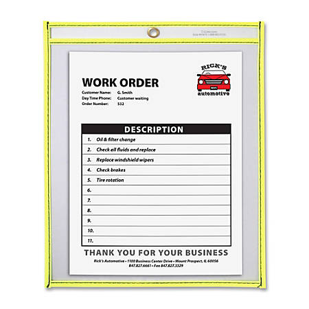 "C-Line® Neon Color Stitched Shop Ticket Holder, 9"" x 12"", Neon Yellow"