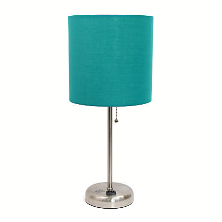 """LimeLights Stick Lamp With Charging Outlet, 19-1/2""""H, Teal Shade/Brushed Steel Base"""