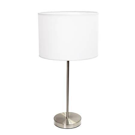 "Simple Designs Stick Lamp, 22 7/16""H, White Shade/Brushed Nickel Base"