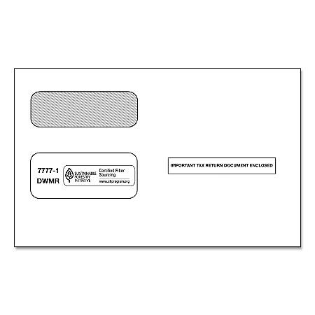 ComplyRight Double-Window Envelopes For Form 1095-B Portrait Employee Copy, White, Pack Of 100 Envelopes